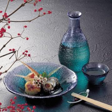 东洋佐佐木 珊瑚海系列 渐变蓝色清酒杯壶套装(一壶两杯)G604-M77