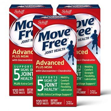 344.55元美国直邮!Move Free 益节葡萄糖胺和软骨素+ msm关节维生素片120粒*3瓶