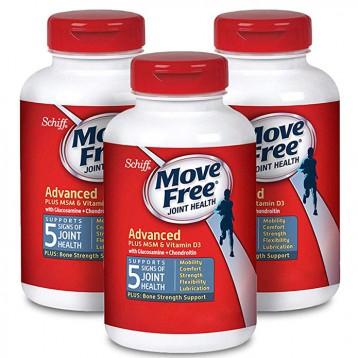 359.74元美国直邮!Move Free 维骨力 益节葡萄糖胺和软骨素+ msm和d3关节维生素片120粒*3瓶