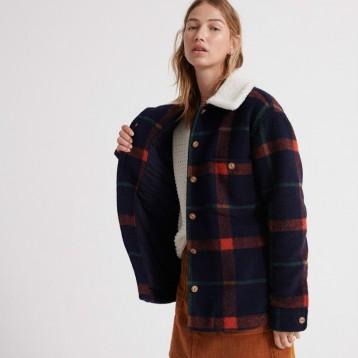 Superdry 极度干燥 Lamber 女士羊毛混纺格纹夹克