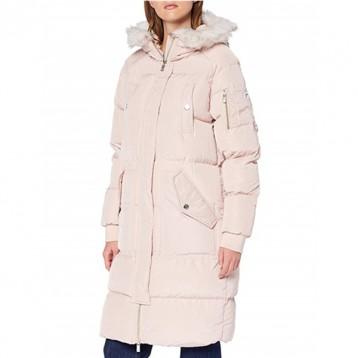 L码,Superdry 极度干燥 Luxe Longline 女士毛领连帽长款保暖棉服