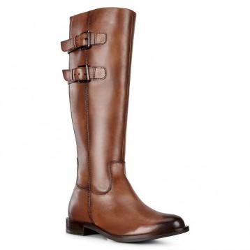 库存浅,手快有!ECCO 爱步 Sartorelle 25 型塑系列 女士真皮平底长靴266603