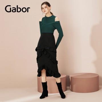 限码好价:GABOR 嘉步 女士反绒粗跟侧拉链中筒靴 亚马逊海外购
