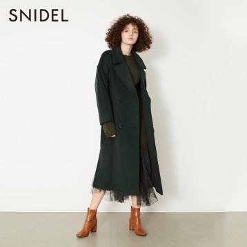Snidel 雙排扣翻領長款羊毛呢大衣外套 SWFC185002 2色