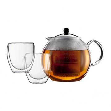 Bodum 波顿 Assam 阿萨姆茶具套装(压滤茶壶1500mL*1个+玻璃杯250mL*2个)