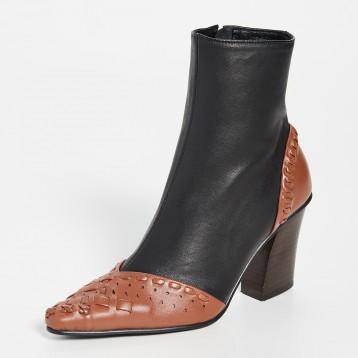 Reike Nen 编织拼接高跟短靴及踝靴 3折好价,1371.72元
