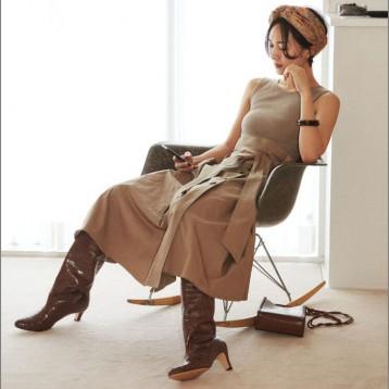 SNIDEL SWNO194048  高腰针织背心拼接喇叭连衣裙 亚马逊海外购