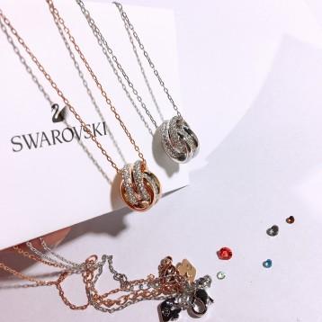 SWAROVSKI 施华洛世奇  5240525 双环水晶转运锁骨链项链 亚马逊海外购