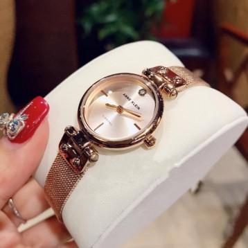 Anne Klein 安妮·克莱因 AK/3002RGRG 女士玫瑰金金属编织石英手表