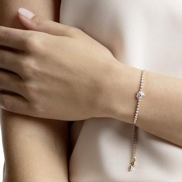 Swarovski 施華洛世奇 ONE 鍍玫瑰金色心形水晶手鏈 亞馬遜海外購