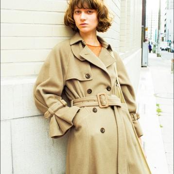 SNIDEL SWFC195124 英倫氣質排扣喇叭袖系帶羊毛呢大衣  亞馬遜海外購 ?