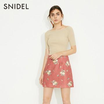 Snidel 女士后绑带一字领针织衫 3色 SWNT192073