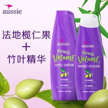 49元包邮!宝洁官方美国进口 Aussie袋鼠丰盈蓬松洗护发套装 360ml*2瓶