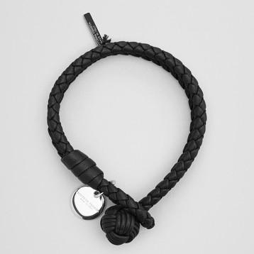 BOTTEGA VENETA 葆蝶家 INTRECCIATO编织系列 雅致黑色小羊皮手链  亚马逊海外购