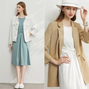 新低94.9元包邮!Amii 2020春季新款法式气质修身长袖连衣裙 多色