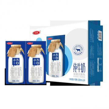 39.90元包邮!三元 小方白全脂纯牛奶 200ml*24盒