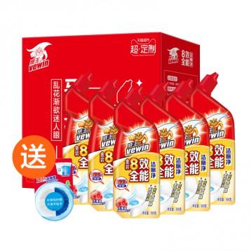 41.90元包邮!【猫超定制】立白 威王8效洁厕液 去污除菌500g*6瓶