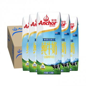 79元包邮!新西兰进口 安佳全脂纯牛奶250ML*24盒