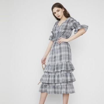 SNIDEL SWFO19102 格纹系带雪纺短袖连衣裙 亚马逊海外购