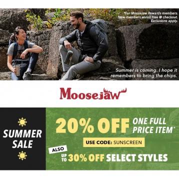【购物清单】Moosejaw夏季大促:正价商品用码8折+折扣区7折起