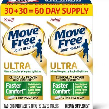 149.43美国直邮:Schiff Move Free Altra 2 in 1 维骨力软骨精华素骨胶原60片(2盒装,每盒30片)