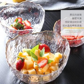 39.90元包郵!法蘭晶 北歐風 玻璃沙拉碗 透明描金3件套+6只水果叉