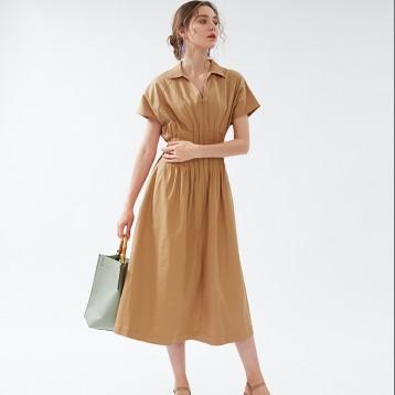 SNIDEL SWFO194029 V领气质抽褶收腰短袖连衣裙  亚马逊海外购