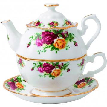 453元美國直郵!Royal Albert 復古鑲金玫瑰茶壺套裝(一壺一杯一碟)