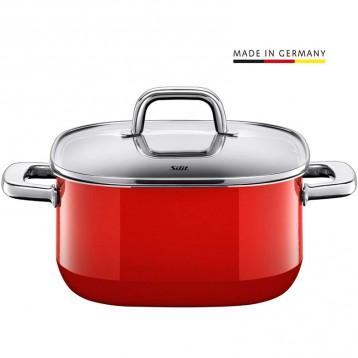 新低662.63元德国直邮!WMF旗下高端品牌:Silit喜力特 德国产Quadro系列希拉钢红色汤锅 4.4L/22cm