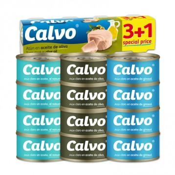 39.90元包邮!西班牙进口 Calvo凯芙 葵花籽油浸金枪鱼 80g*4罐