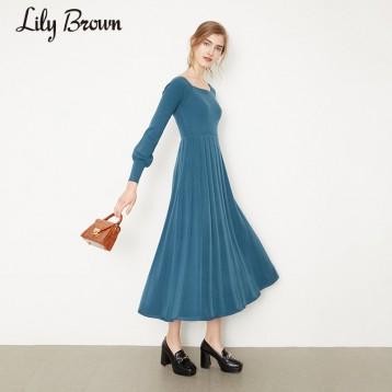 Lily Brown LWNO195075 收腰方领纯色针织连衣裙 亚马逊海外购