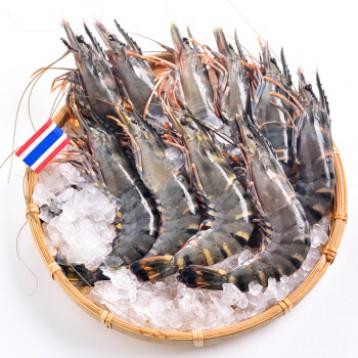 拍4件219.6元包邮!泰国进口 活冻黑虎虾 400g 约16-20只(限京津沪有货)