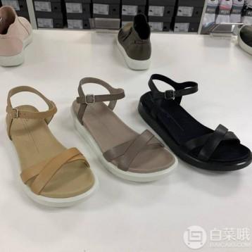 新低好价!多码,ECCO 爱步 Yuma 女士交叉露趾平底凉鞋 857923