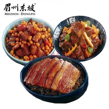 29元包郵!眉州東坡酒樓 加熱即時菜 東坡扣肉+筍子燒牛肉+黃豆燜肉150g各1袋