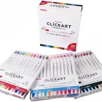 ¥162.26元日本直邮!Zebra 斑马 ClickART 按动防干防晕染水彩笔 36色套装