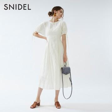 SNIDEL SWFO202033 蕾丝镂空抽绳泡泡袖纯棉连衣裙 亚马逊海外购