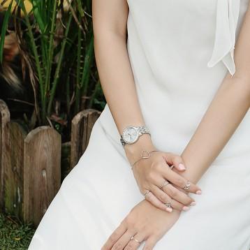 CITIZEN 西鐵城 EL3040-80A 女士銀色鑲鉆石英表   亞馬遜海外購