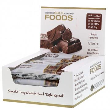 100.80元/盒包税!California Gold Nutrition 黑巧克力坚果和海盐 能量棒12 条*40 克