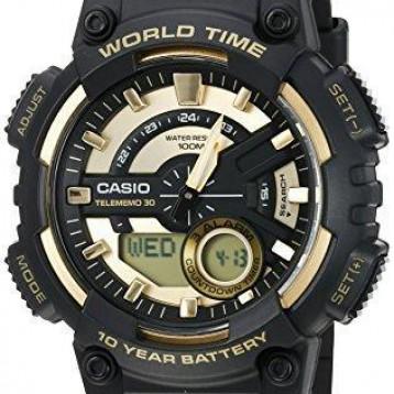 【包郵包稅】Casio 卡西歐 Heavy Duty 男士高耐石英樹脂手表,顏色:黑色(型號:AEQ110BW-9AV)