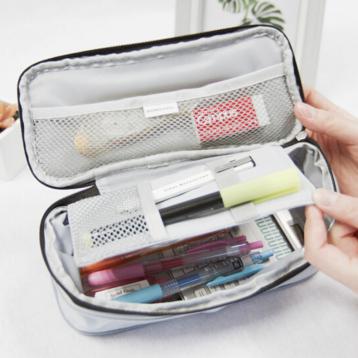 33元!日本国誉(KOKUYO)学生大容量直立式竖款笔袋 文具盒NOViTA-R(深灰)