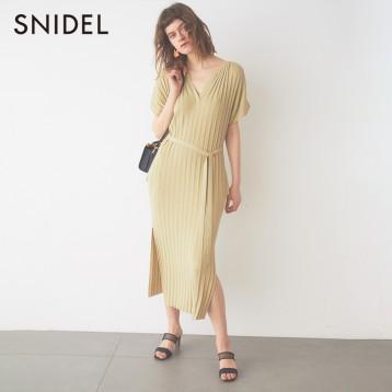 240.63元日本直邮!SNIDEL SWNO201052 罗纹针织系带连衣裙(三色)