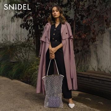SNIDEL SWFC201006 系带翻领花朵袖薄款风衣 亚马逊海外购