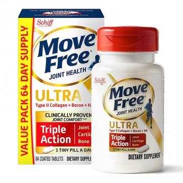 224.04元美国直邮!Schiff Move Free II型维骨力(胶原蛋白+硼+HA)三合一维生素片 64粒(1粒/日)