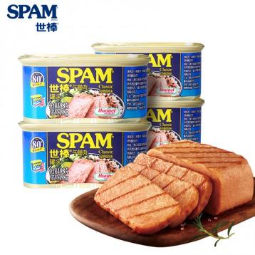 78元包邮【90%含肉量】SPAM世棒 午餐肉罐头经典原味198g*4罐