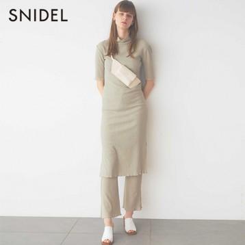 SNIDEL SWCO201037 修身中袖侧开叉连衣裙 亚马逊海外购