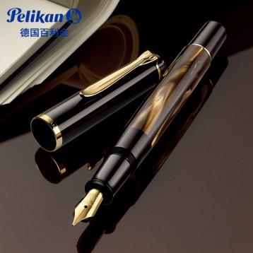 pelikan 百利金 M200棕色大理石紋24K鍍金尖墨水鋼筆?亞馬遜海外購