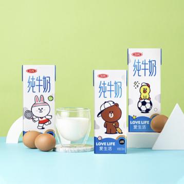 48元包郵!三元??LINE FRIENDS 合作款純牛奶200ml*10盒/箱(5口味可選)
