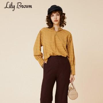 Lily Brown LWFT204210法式复古印花蝴蝶结系带衬衫亚马逊海外购