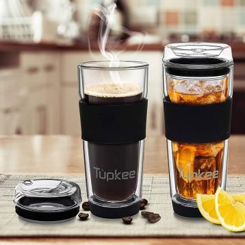 240.86元美國直郵!Tupkee 帶蓋雙層玻璃杯  耐冷耐熱隔熱茶/咖啡杯397ml
