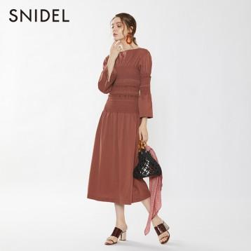 SNIDEL SWFO195032  复古宫廷风抽褶收腰系带棉质连衣裙 亚马逊海外购